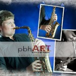 Photo Montage of a sax player by Peggie B. Hensley