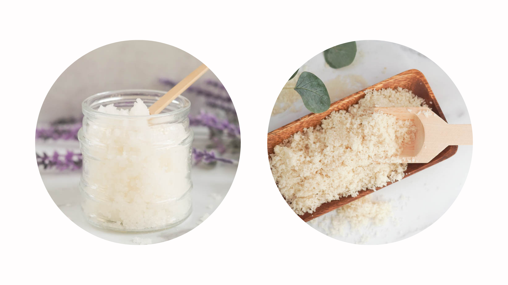 two round images of body scrubs